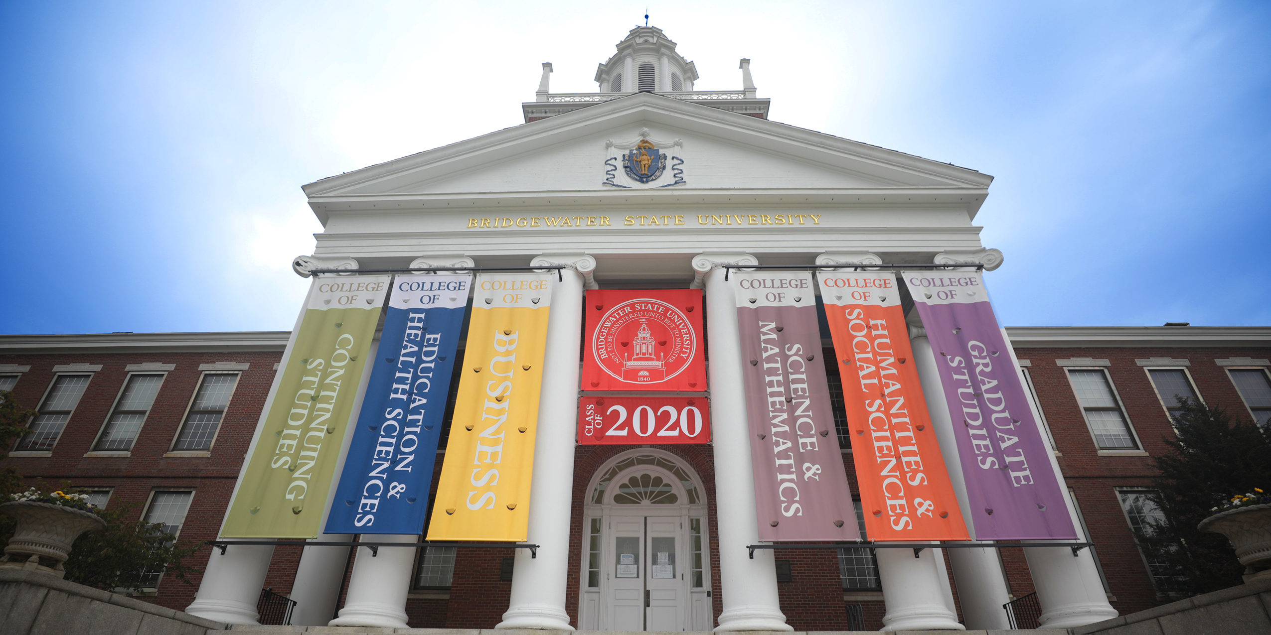 Boyden Hall with Class of 2020 banners