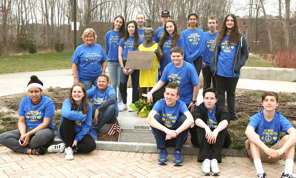 Students at Martin Richards Statue