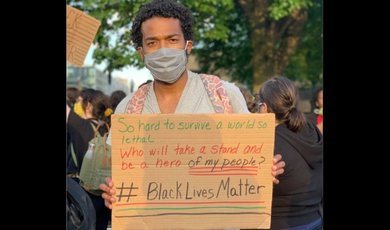 CJ Sonnie, '20 at Black Lives Matter protest in Boston