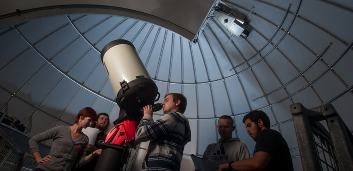 students working in observatory