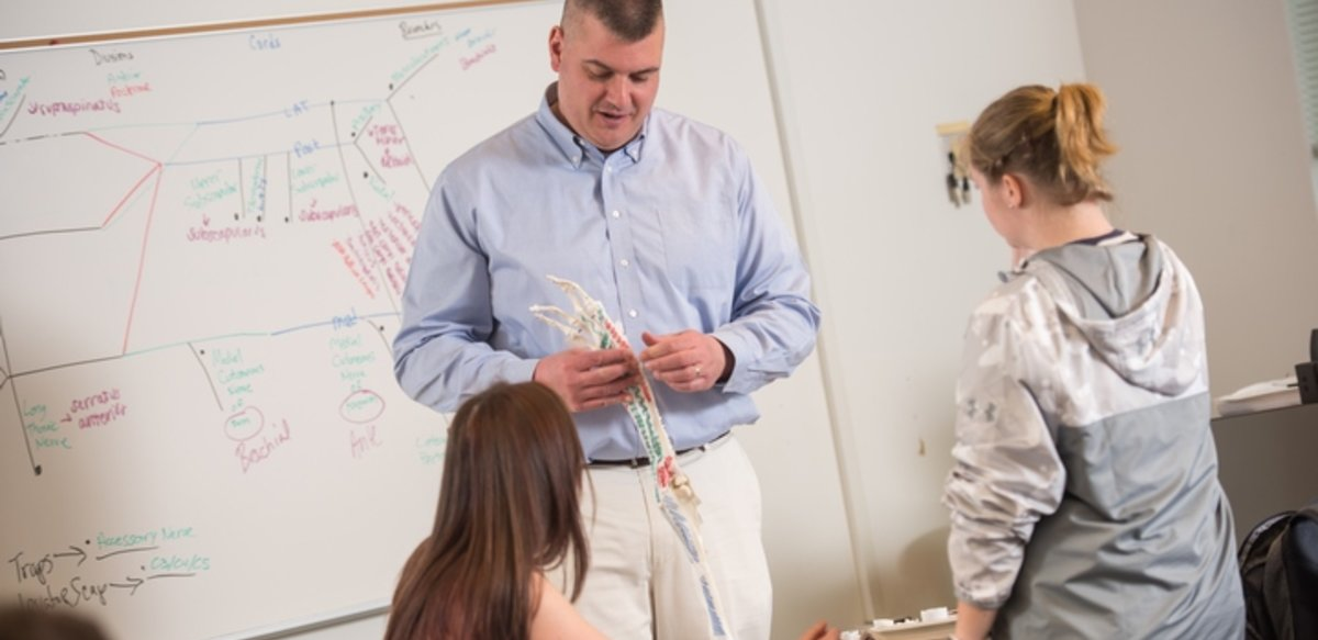 A professor standing in front of a white board showing 2 students the parts on the skeleton of an arm.