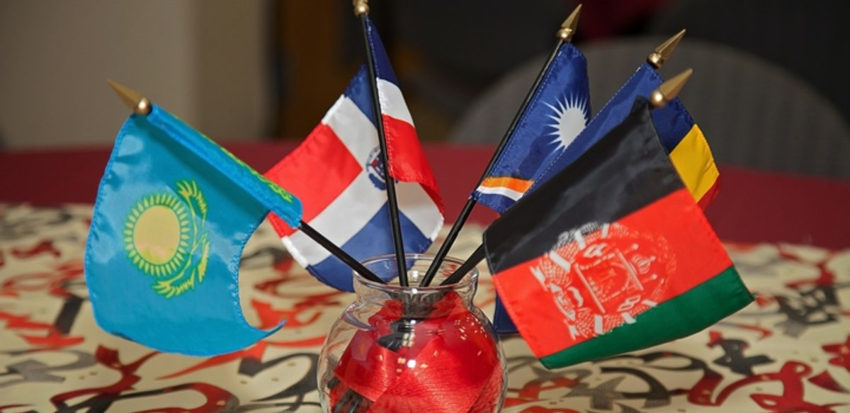 table centerpiece with international flags