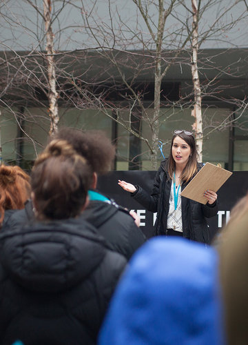 An organizer speaks at the BSU Take Back the Night rally